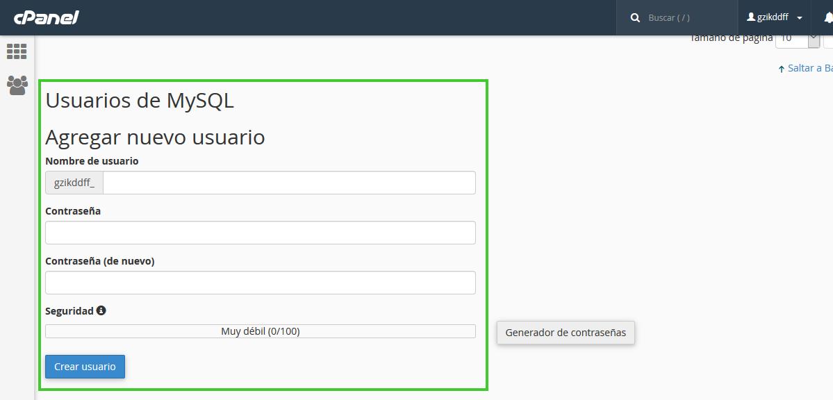 Crear usuario base de datos en cPanel