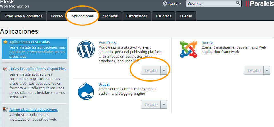WordPress Preinstalado