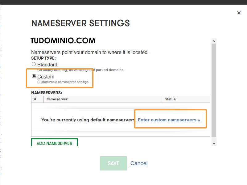 Modificar las DNS de un dominio en Godaddy - Paso 2