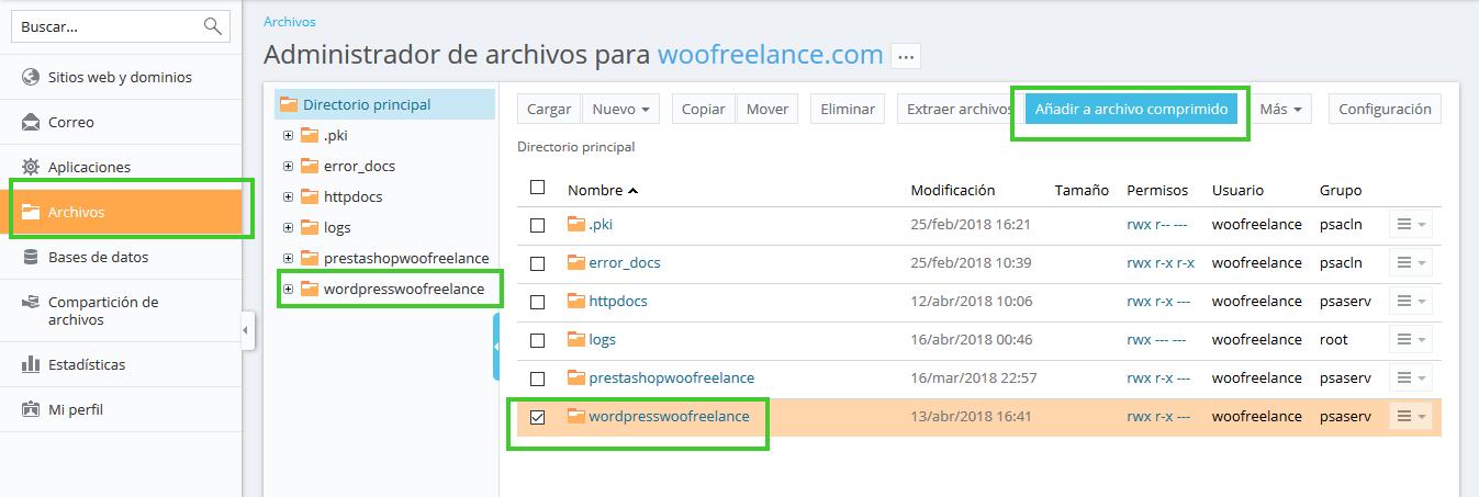 Cambiar una web WordPress a otro dominio - Exportar Archivos