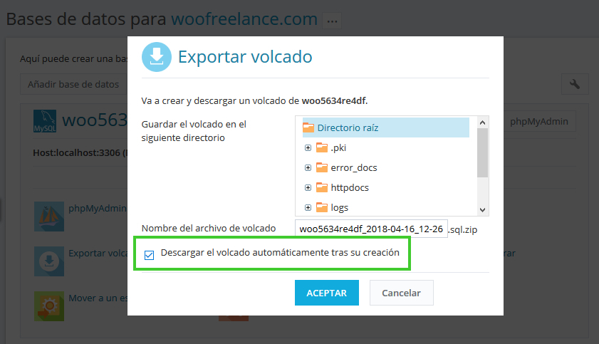 Cambiar una web WordPress a otro dominio - Descargar Base de Datos Comprimida