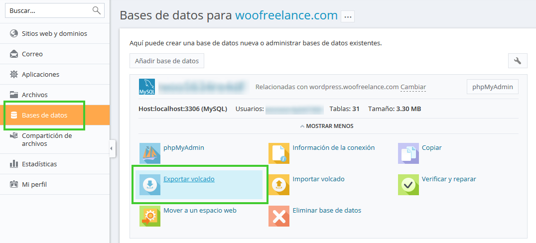 Cambiar una web WordPress a otro dominio - Exportar Copia Base de Datos