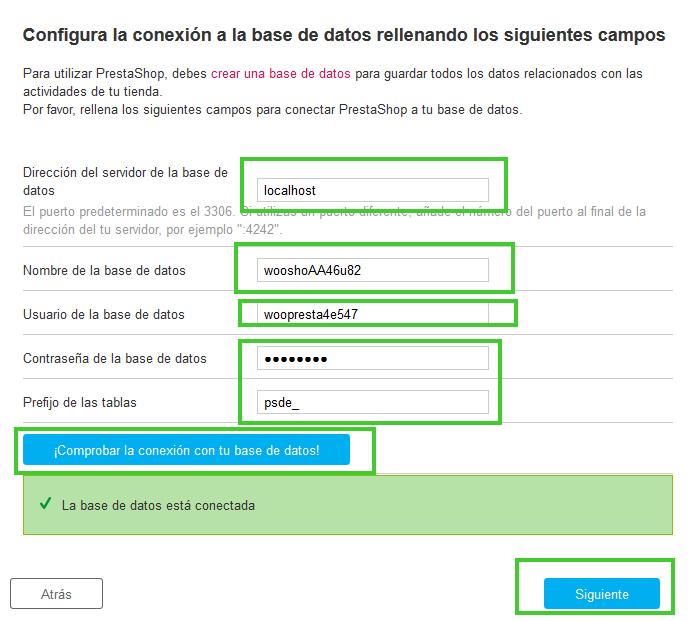 Instalar PrestaShop: Configurar Base de Datos