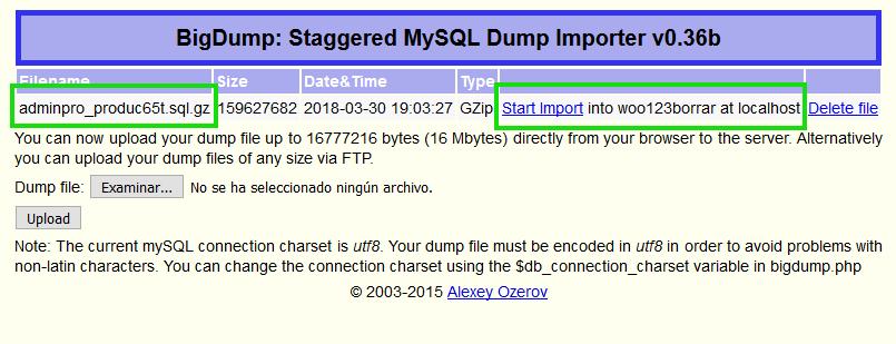 Migrar un WordPress muy grande - MySQL