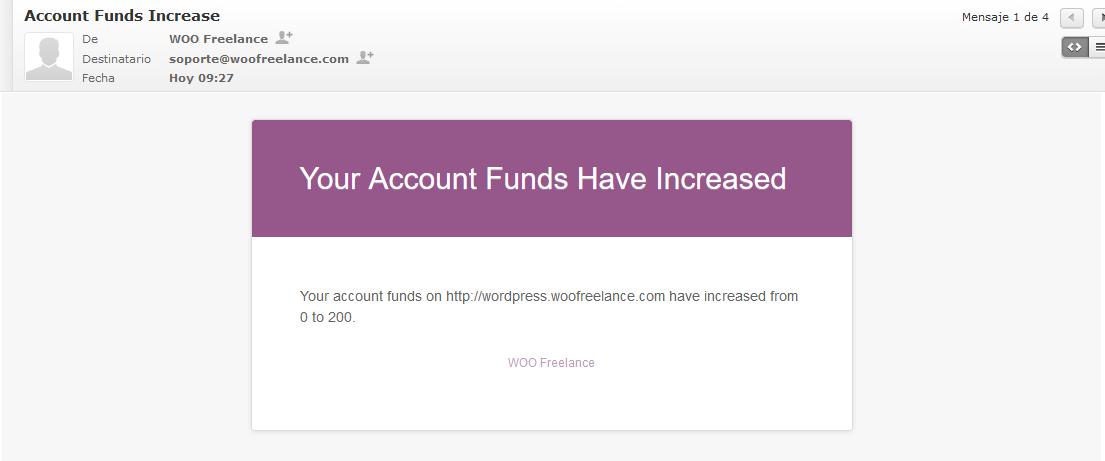 Email Añadir saldo a una cuenta de WooCommerce