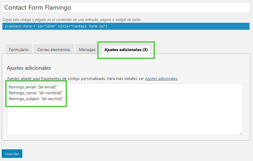 Configurar Flamingo Contact Form 7