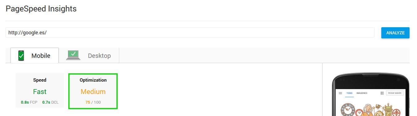 Velocidad de Carga Google