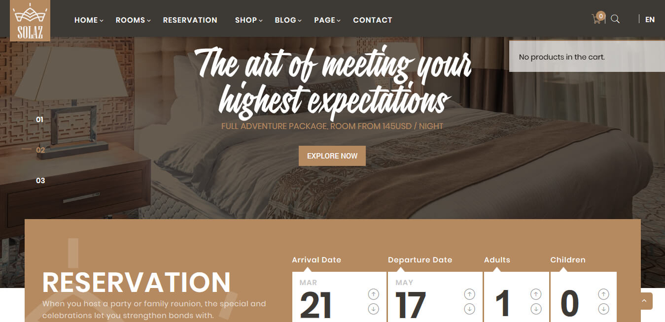 Plantilla WordPress Hoteles - Solaz